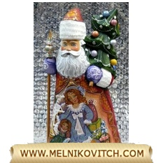 Wooden Grandfather Frost (Santa Claus) figurine with Christmas tree