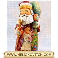 Wooden artwork Santa as Christmas gift figurine