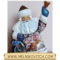 Santa Claus figurine with bell and gift bag