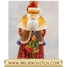 Saint Nicholas carrying a gift bag