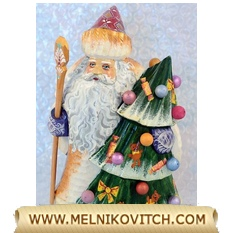 Christmas decoration figurine: Santa Claus with Christmas Tree