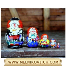 Musical Clown doll as stacking doll set of 5 pcs