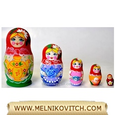 5 pcs Matryoshka doll `Tea-time` with Samovar