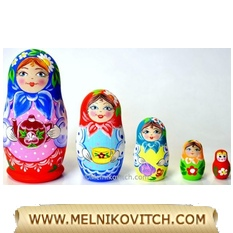 5 pcs Matryoshka dolls with Tea time theme